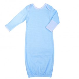 Рубашка для сна с рукавичками, бело-голубая полоска