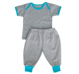 Комплект: футболка с коротким рукавом, штаны с манжетами (серый меланж с бирюзовой отделкой)
