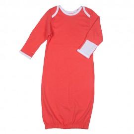 Рубашка для сна с рукавичками, коралловая с белой отделкой