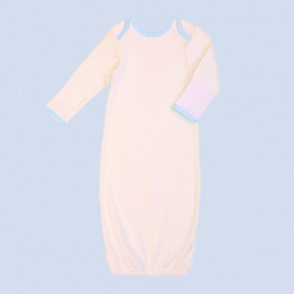 Рубашка для сна с рукавичками, молочная в голубой горох