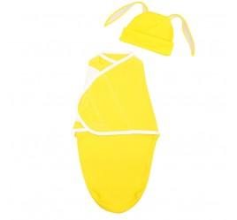 Комплект: пеленка кокон на липучке и шапочка с ушками, в ассортименте