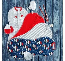 Промо-набор из четырех конвертов на молнии с антицарапками и носочками, новогодний