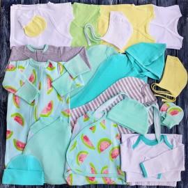 Комплект из 18 предметов для новорожденного №16 (пеленки-коконы, распашонки, чепчики и пр.)