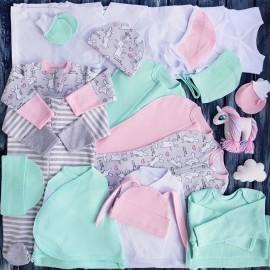 Комплект из 18 предметов для новорожденного №11 (пеленки-коконы, распашонки, чепчики и пр.)