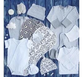 Набор из 12 предметов, бело-серый