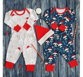 Набор пижам, новогодние панды и звезды с колпачком