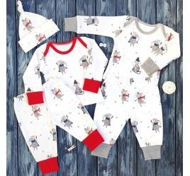 Набор пижам, мышки с серой и красной отделкой и шапочка