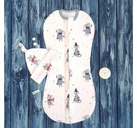 Комплект: пеленка кокон на молнии и шапочка с узелком, мышки с серой отделкой