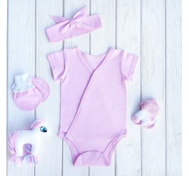 Комплект: боди с коротким рукавом, носочками, антицарапками и повязкой, розовый