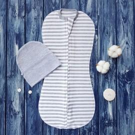 Комплект: пеленка кокон на молнии, полосатый меланж и шапочка без ушек