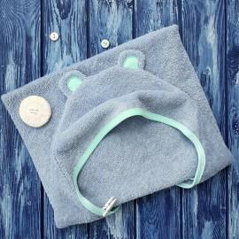 Пеленка-полотенце с капюшоном и ушками и рукавичка, цвет серый с мятной отделкой