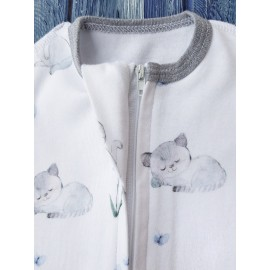 Комплект: пеленка кокон на молнии, котята на белом и шапочка без ушек
