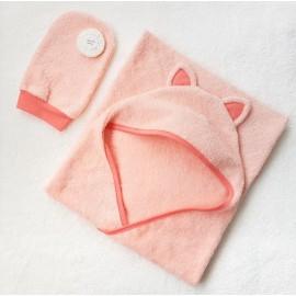 Пеленка-полотенце с капюшоном и ушками и рукавичка, цвет персик с коралловой отделкой