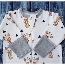 Комбинезон-ползунки на молнии, жирафы на белом