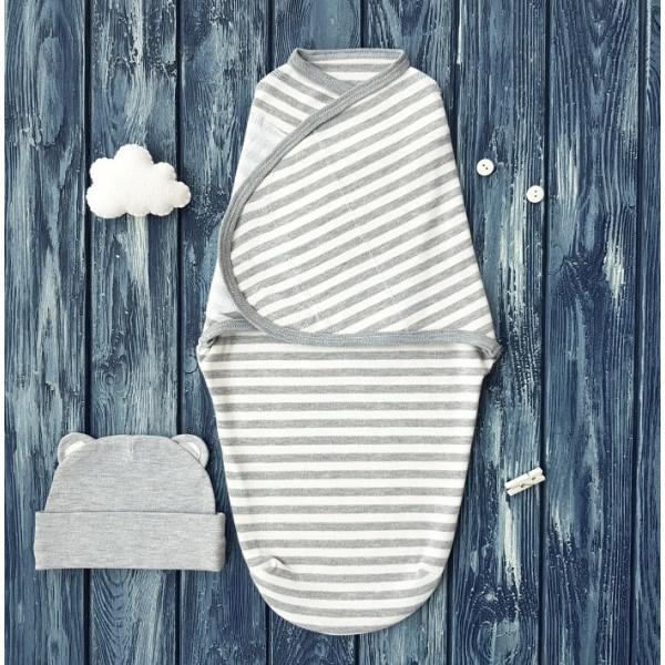 Комплект: пеленка кокон на липучке и шапочка, полосатый меланж