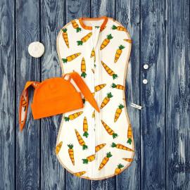Комплект: пеленка кокон на молнии, морковки на молочном и шапочка с ушками