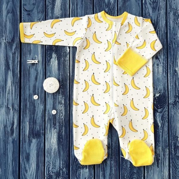 Комбинезон-ползунки на молнии, рисунок бананы