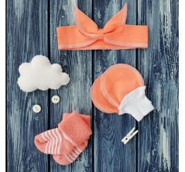 Повязка на голову-Солоха, носки и антицарапки, коралл