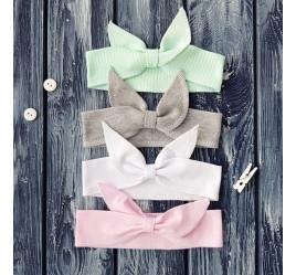 Повязки на голову - Солохи, розовый, серый, мята, белый, 4 шт.