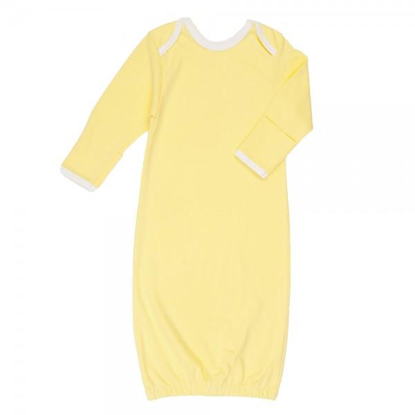 Рубашка для сна с рукавичками, желтая с белой отделкой