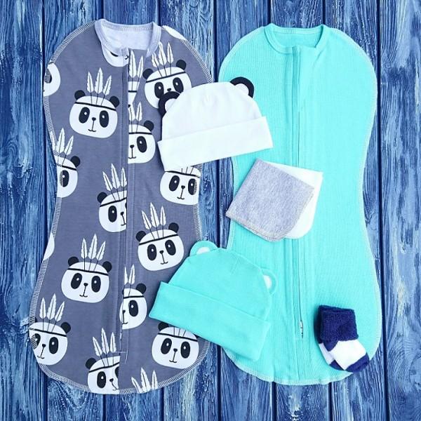 Набор из двух конвертов с шапочками бирюзовый и панды