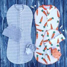Набор из двух конвертов с шапочками полосатый меланж и морковки
