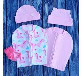 Набор из двух конвертов с шапочками: розовый и единороги