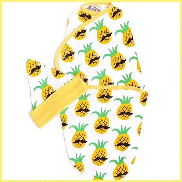 Комплект: конверт на липучке и колпачок ананасы