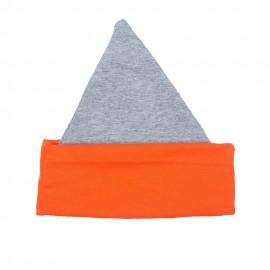 Шапочка- колпачок, серый меланж с оранжевой отделкой