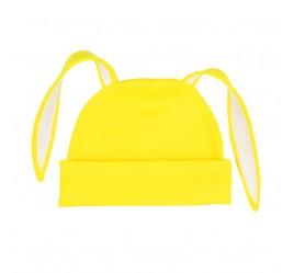 Шапочка с ушками зайка, ярко-желтая с белой отделкой