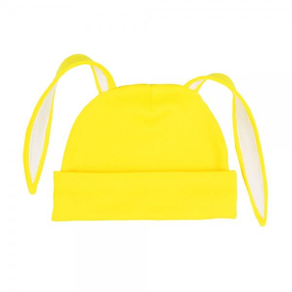 """Шапочка с ушками """"зайка"""", ярко-желтая с белой отделкой"""