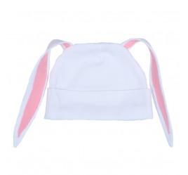 Шапочка с ушками зайка, белая с розовой отделкой