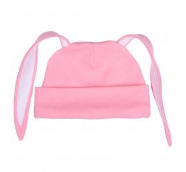Шапочка с ушками зайка, розовая с белой отделкой