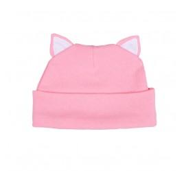 Шапочка с ушками котик, розовая с белой отделкой