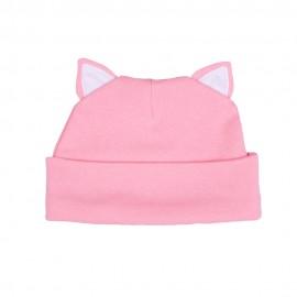 """Шапочка с ушками """"котик"""", розовая с белой отделкой"""