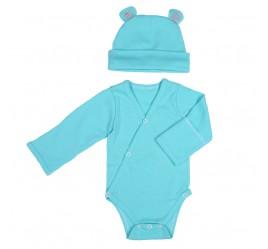 Комплект: боди с длинным рукавом и рукавичками и шапочка, бирюзовый
